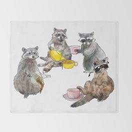 Racoon Tea Party Throw Blanket