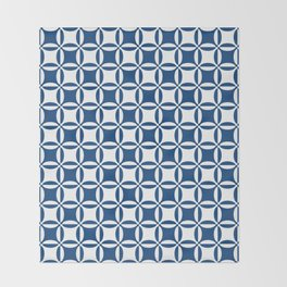 Geometry illusion in blue Throw Blanket
