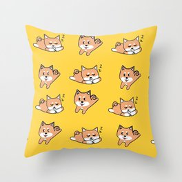 Mustard Shiba Throw Pillow