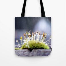 Maco photography Moss Water Drop Rain drops dew Green nature photography Tote Bag