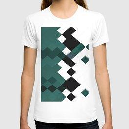 Emerald Green White Black Geometrical Pattern T-shirt