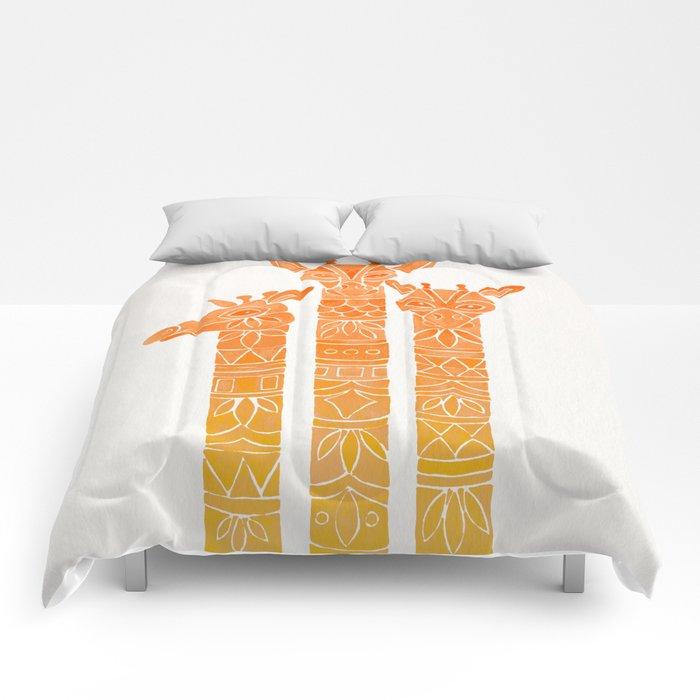 Giraffes – Orange Ombré Comforters