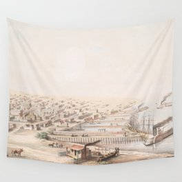 Vintage Pictorial Map of Galveston TX (1855) Wall Tapestry
