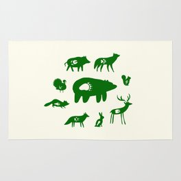 Nature Trail in Forest Green and Cream Rug