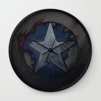 steve rogers Wall Clocks featuring Captain Steve Rogers by yurishwedoff