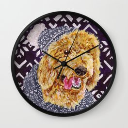 Poodle in a Hat and Scarf Wall Clock