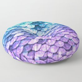 Mermaid Ombre Sparkle Teal Blue Purple Floor Pillow