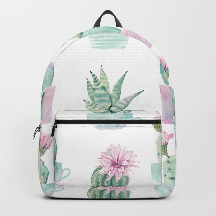 Simply Echeveria Cactus in Pastel Cactus Green and Pink Backpack