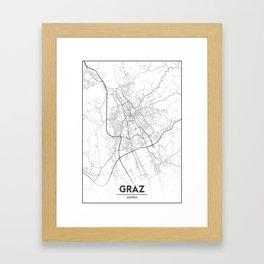 Minimal City Maps - Map Of Graz, Austria. Framed Art Print