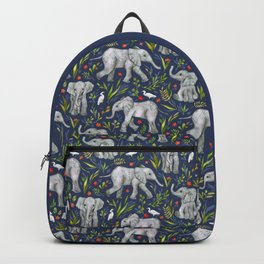 Baby Elephants and Egrets in Watercolor - navy blue Backpack