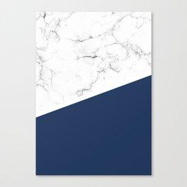 White Marble Navy Peony Canvas Print