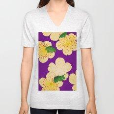 Purple Japanese Floral Vintage Pattern Unisex V-Neck