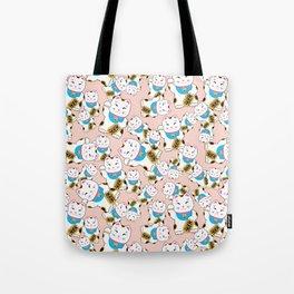 Maneki-neko good luck cat pattern Tote Bag