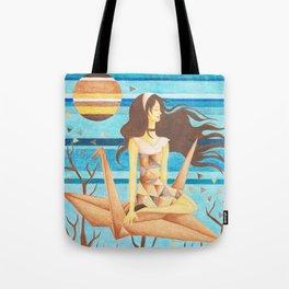 Crane Girl Tote Bag