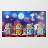 robots Area & Throw Rugs featuring Robots by Pedro Nogueira
