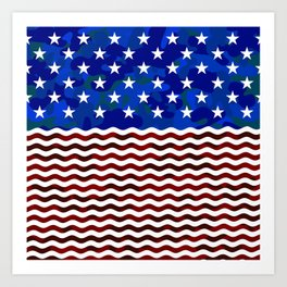 Stars & Waves (Camouflage) Art Print
