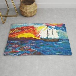 Sailboat at Ocean | Acrylic painting Rug