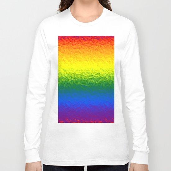 Rainbow Gradient Painted Pattern Long Sleeve T-shirt