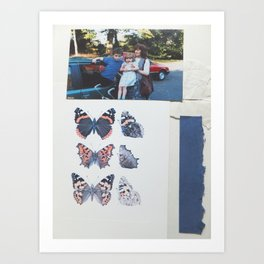 Family & Butterflies  Art Print