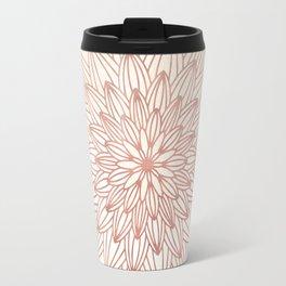 Mandala Blossom Rose Gold on Cream Travel Mug
