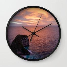 Beautiful Pink Sunset Ocean Wall Clock