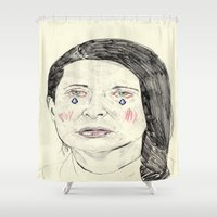 marina Shower Curtains featuring Marina Abramović by withapencilinhand