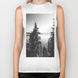 Mountain Lake Forest Black and White Nature Photography Biker Tank