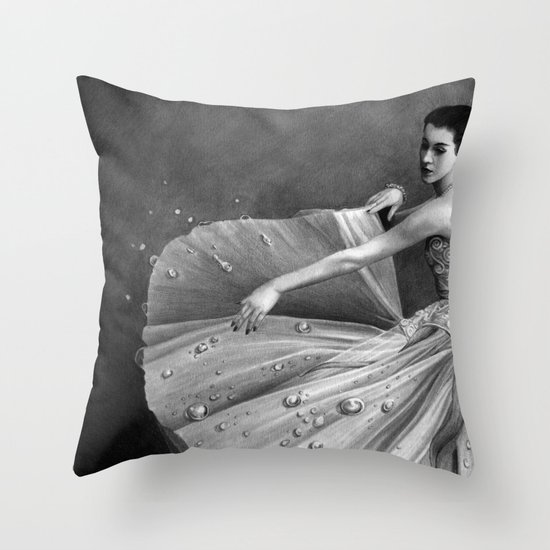 White Morning - graphite pencil drawing Throw Pillow