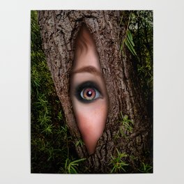 Beautiful Face trapped in a tree trunk Poster