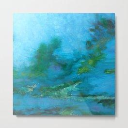 Light Blue Monet´s Theme of Waterlilies Metal Print