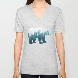 Misty Forest Bear - Turqoise Unisex V-Neck