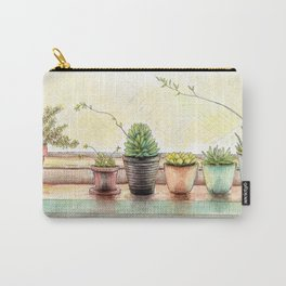 Succulents on a Window Sill Carry-All Pouch