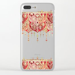 Royal Red Art Deco Double Drop Clear iPhone Case