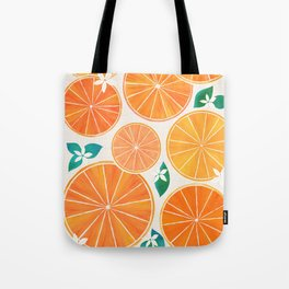 Orange Slices With Blossoms Tote Bag