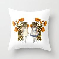 shabby chic Throw Pillows featuring Shabby Chic Anthropomorphic Cats by Shayla Fish