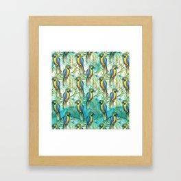 Watercolor blue yellow tropical parrot bird floral Framed Art Print