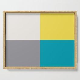 White Yellow Aqua Gray Geometric Minimal Design Serving Tray
