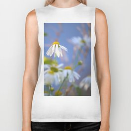 Daisies on a sunny summer day with blue sky Biker Tank