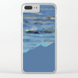 Moon over blue mountains Clear iPhone Case