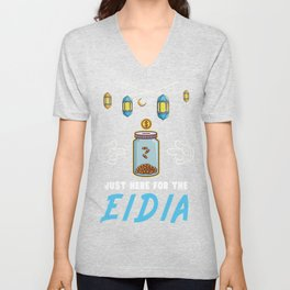 Kids Eid Funny Sayings T-Shirt Just Here For The Eidia Gift Unisex V-Neck