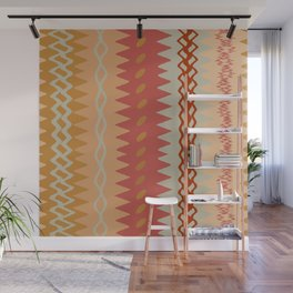Assorted Zigzags And Waves Sienna Peach Grey Wall Mural