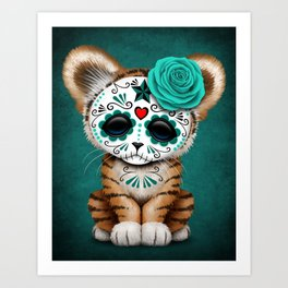 Blue Day of the Dead Sugar Skull Tiger Cub Art Print