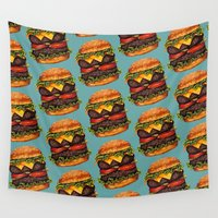 hamburger Wall Tapestries featuring Double Cheeseburger Pattern by Kelly Gilleran