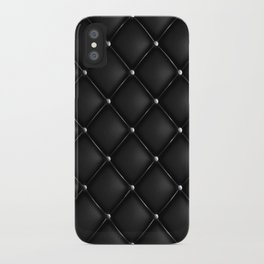 Black Quilted Leather iPhone Case