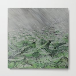 LOTUS IN THE RAIN Metal Print