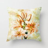 vintage floral Throw Pillows featuring Vintage Floral by Colorful Art