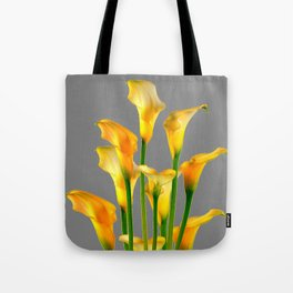 DECORATIVE GOLDEN CALLA LILY FLOWERS ON GREY ART Tote Bag
