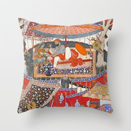 16th Century India Watercolor Painting Throw Pillow