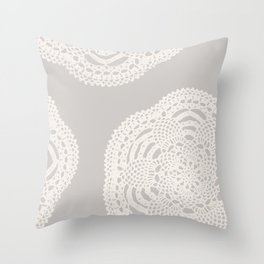 Cream on Taupe Antique Crocheted Lace Pineapples Doily Throw Pillow