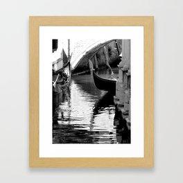 Gondolas in black and white Framed Art Print